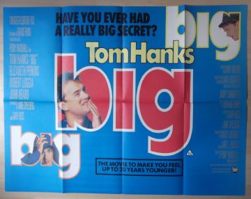 Big, RARE Original UK Quad Poster, Tom Hanks wishes he was BIG, '88